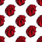 Seamless pattern of red horses heads