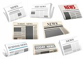 Newspaper icons isolated on white