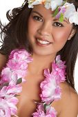 stock photo of hawaiian girl  - Beautiful happy hawaiian tropical lei girl smiling - JPG