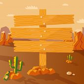 image of wild west  - Wild west poster with western landscape and wooden sign vector illustration - JPG