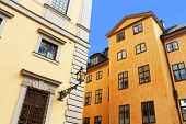 Old Buildings And Lantern On The Street Of Stockholm, Sweden