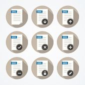 Set of doc file icons with long shadows.