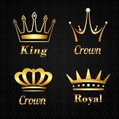 Golden crown labels set