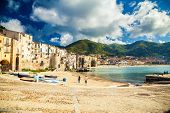 Empty Old Beach Of Cefalu, Sicily