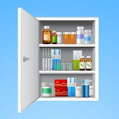 stock photo of  realistic  - Medicine cabinet with tablets pills bottles drops realistic isolated on white background vector illustration - JPG