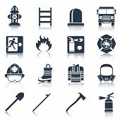 picture of flames  - Firefighter black icons set with flame extinguisher emergency siren isolated vector illustration - JPG