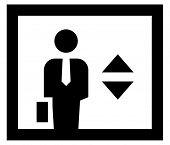 Businessman in elevator icon