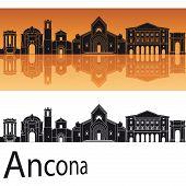 Ancona Skyline In Orange Background