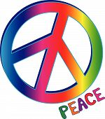 PEACE sign with PEACE text