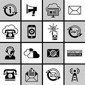 Contact Us Icons Set Black and White