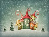 Illustration with winter houses and christmas trees