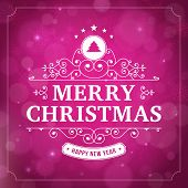 Merry Christmas Vintage Curl Violet  Background