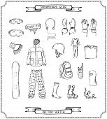 Pencil sketch of snowboard gear.