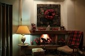 Cozy Christmas Interior With Fireplace