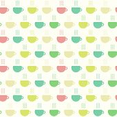 Tea Time, Cups Seamless Pattern. Vector Illustration