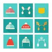 Carnival Hats Vector Set In Flat Style