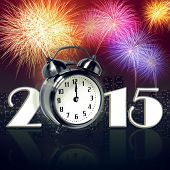 Jumping alarm clock at midnight of new year eve with fireworks