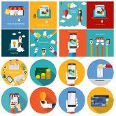 Pay Per Click, Online Shopping, Business Start Up, Team Work Fla