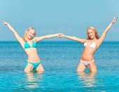 stock photo of denude  - Beauties on a Beach Joy  - JPG
