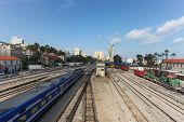 Downtown Haifa, Israel with train station