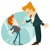 Angry businessman screaming and pointing on the manager . Flat s