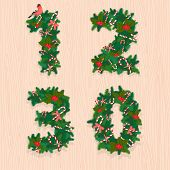 Christmas festive wreath numbers. Wooden background