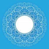 Round Blue Leafy Frame