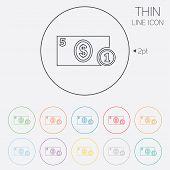Cash sign icon. Dollar Money symbol. Coin.