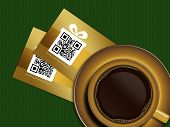 Cup Of Coffee With Discount Coupons On Tablecloth