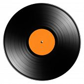 Spinning vinyl record isolated on white