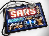 SARS Diagnosis on the Display of Medical Tablet.