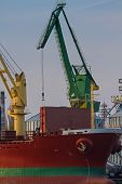 Container Ship On Dock