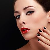 Beautiful Makeup Woman With Red Lips And Black Nails