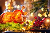 stock photo of roast duck  - Christmas table setting with turkey - JPG