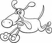 Running Dog Cartoon Coloring Page