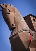 Woman Inside Of Reconstructed Trojan Horse