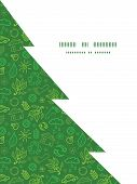 Vector ecology symbols Christmas tree silhouette pattern frame card template