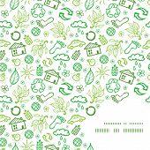 Vector ecology symbols frame corner pattern background