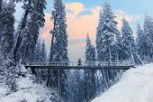 Winter Landscape Of High Snowy Brigde