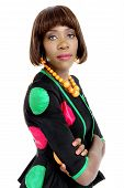 Beautiful Young African Woman Dressed in African Designer Clothes, Isolated on White Background