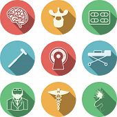 picture of neurology  - Set of colored circle vector icons with white silhouette symbols for neurology on white background - JPG