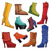 Fashionable colored women's boots and shoes