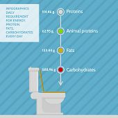 Flat vector infographic for daily requirement of nutrients