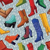 Colored women's boots ,shoes,raindrops seamless pattern