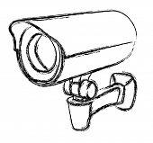 Black and White Surveillance Camera (CCTV) Warning Sign. Vector illustration