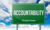 image of accountability  - Highway Signpost with Accountability Wording on Sky Background - JPG