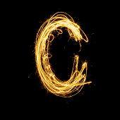 Sparkler Firework Light Alphabet C.