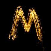 Sparkler Firework Light Alphabet M.