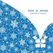 Vector falling snowflakes Christmas gift box silhouette pattern frame card template