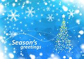 season's greetings blue winter background with stars christmas tree